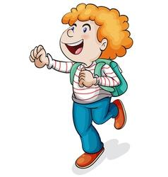 A boy with school bag vector