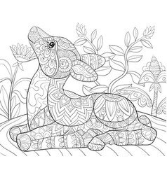 Adult coloring bookpage a cute little deer vector