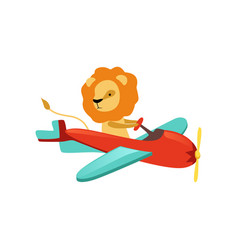 african lion with furry mane flying on little vector image