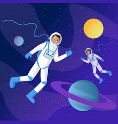 astronauts in outer space flat two vector image