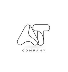 at monogram letter logo with thin black monogram vector image