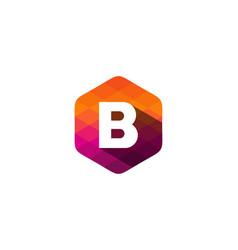 b hexagon pixel letter shadow logo icon design vector image