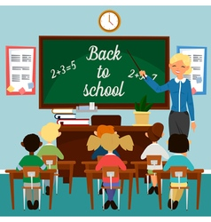 Back to School Classroom with children Teacher vector