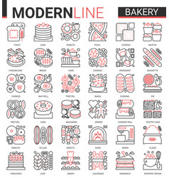 Bakery red black thin line icon vector