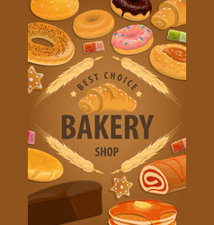 Bakery shop cakes baker pastry desserts vector