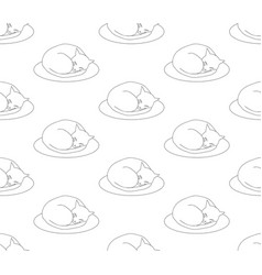 ball cat sleeping on bed on white background vector image