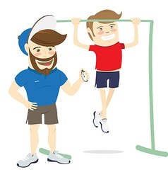 Bearded fitness personal trainer instructor vector
