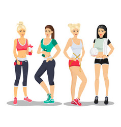 Beautiful sport fitness girls models young woman vector