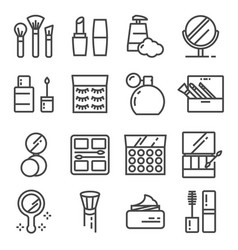 beauty and cosmetic line icons set vector image