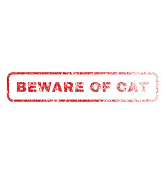 beware of cat rubber stamp vector image
