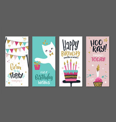 birthday cards gift posters cute greetings vector image