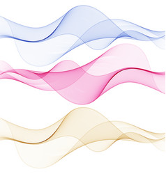 blue green and pink wave set of abstract design vector image