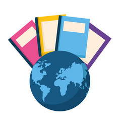 book with planet earth isolated icon vector image
