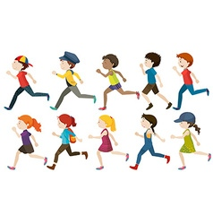 Boys and girls running vector