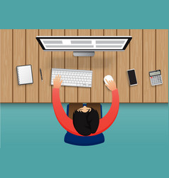 business person working on computer businessman vector image
