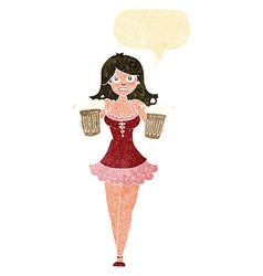 Cartoon beer festival girl with speech bubble vector