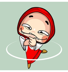 cartoon funny toothless girl in kerchief dancing vector image
