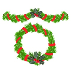 christmas garland and a wreath vector image