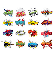 Collection comic sound effects pop art style vector