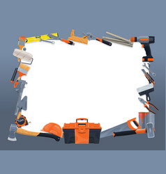 Construction and repair tools frame border vector