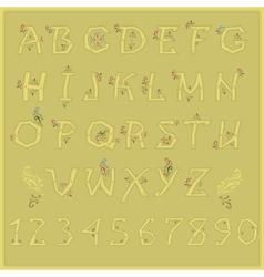 Country Floral font Folk artistic alphabet vector image