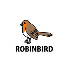 cute robin cartoon logo icon vector image