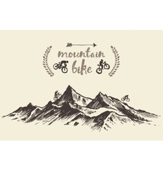 Cyclists riding mountain hand drawn bike vector image