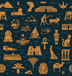 dark seamless pattern symbols landmarks and vector image