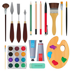 Different materials for artists equipment for vector