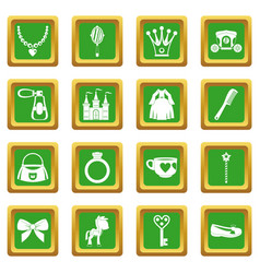 doll princess items icons set green vector image