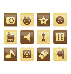 entertainment icons over brown background vector image