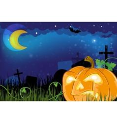 Evil Jack o lantern on a cemetery vector image