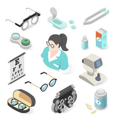 Eye examination professional equipment and vector