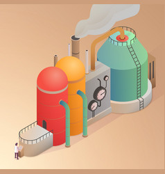 Factory building with pipes vector