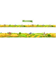 Farm landscape seamless panorama 3d vector