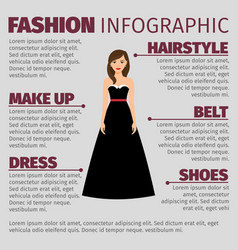 fashion infographic with brunette in dress vector image