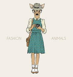 Fashion of cute deer hipster with photocamera vector