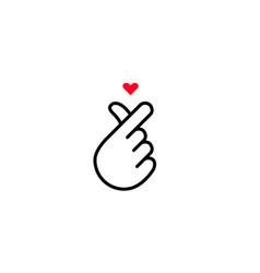 Finger heart icon korean and k-pop love gesture vector