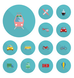 flat icons airship boat metro and other vector image