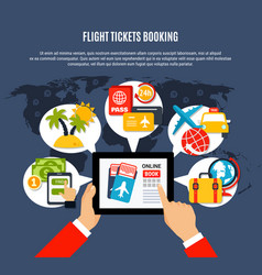 flight tickets online booking poster vector image