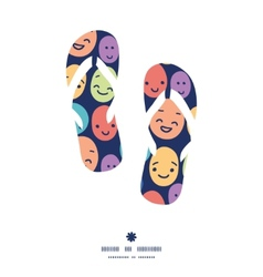 Funny faces flip flops silhouettes pattern frame vector