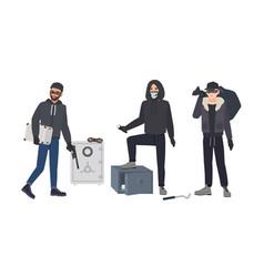 Gang robbers or burglars dressed in black vector
