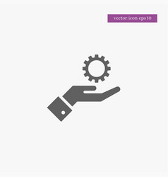 gear on hand icon simple vector image