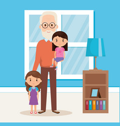 Grandpa and geandchildren in the livingroom vector