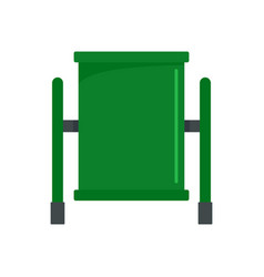green trash can icon flat style vector image