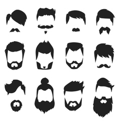 Hairstyle beard and hair face cut mask flat vector