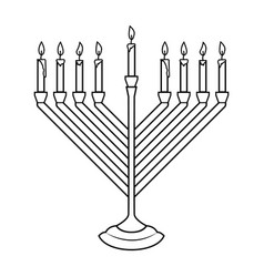 hanukkah candle in engraving style isolated on vector image