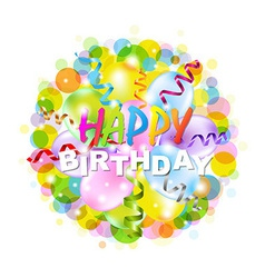 Happy Birthday Poster With Bokeh vector