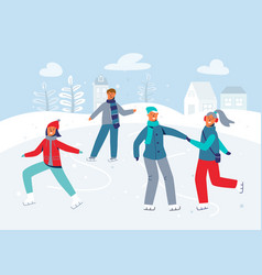 Happy characters skating on ice rink winter season vector