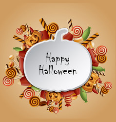 Happy halloween card pumpkins silhouette vector